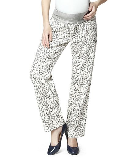 Nine Full Length Maternity Printed Pyjama - White Grey