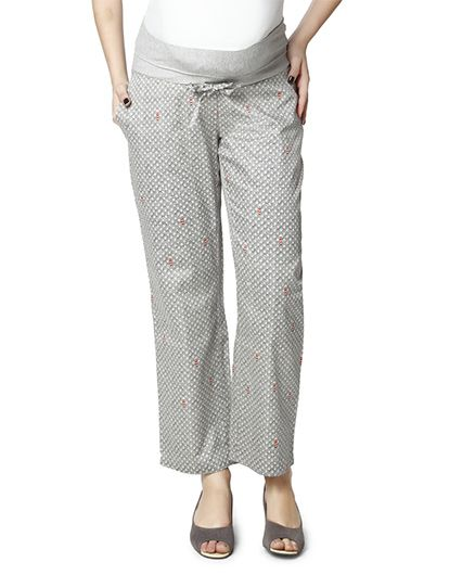 Nine Full Length Maternity Printed Pyjama - Grey