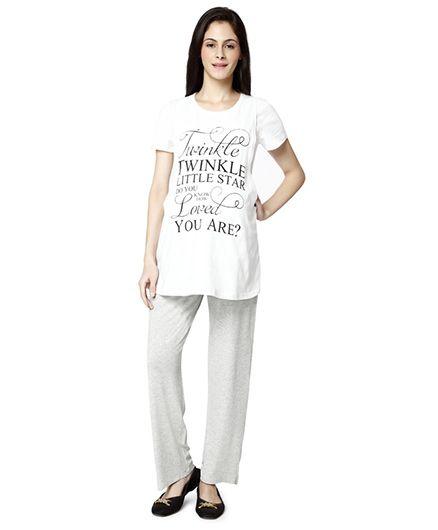 Nine Maternity Printed T-Shirt And Pyjama Set - White