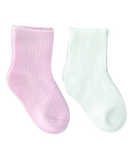 Playette Socks Pack Of 2 - White Pink