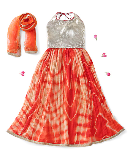 Kids Chakra Halter Neck Choli And Lehenga With Dupatta Sequin Detailing - Orange Silver