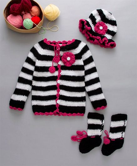 The Original Knit Flower Embellished Crochet Sweater Cap & Booties Set - Black & White