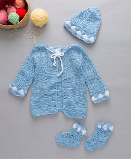 The Original Knit Crochet Sweater Cap & Booties Set - Ice Blue