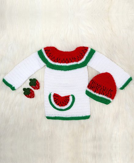 The Original Knit Full Sleeves Sweater And Cap Watermelon Design - White Red