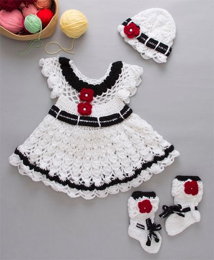 The Original Knit Woolen Dress With Booties And Cap Flower Applique - White Black