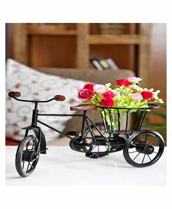 Desi Karigar Metal & Wood Rickshaw Flower Holder - Black