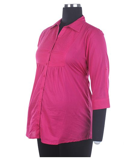 Kriti Three Fourth Sleeves Maternity Top - Dark Pink