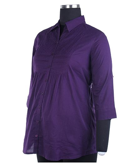 Kriti Three Fourth Sleeves Maternity Top - Purple