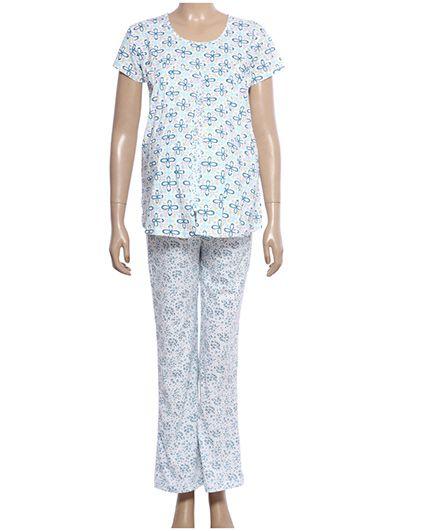 Maternity Uzazi Maternity Short Sleeves Nursing Nightwear Set - Blue