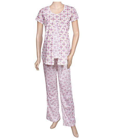 Maternity Uzazi Maternity Short Sleeves Nursing Nightwear Set - Pink