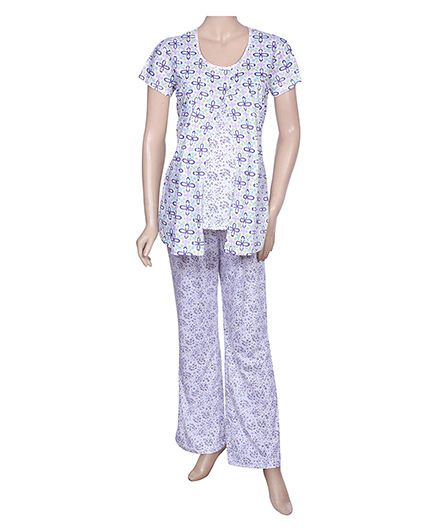 Maternity Uzazi Maternity Short Sleeves Nursing Nightwear Set - Lavender