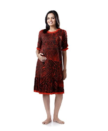 Uzazi Geometric Print Maternity Dress - Black & Red