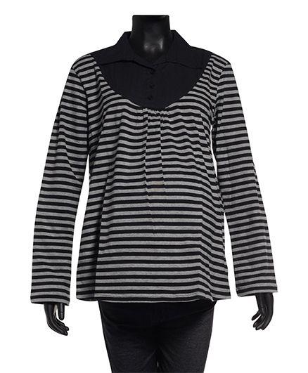 Uzazi Maternity Long Sleeves Striped Collar Top - Black & Grey
