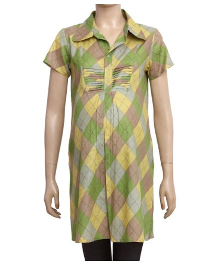 Uzazi Half Sleeves Maternity Tunic Top With Geometric Print - Green