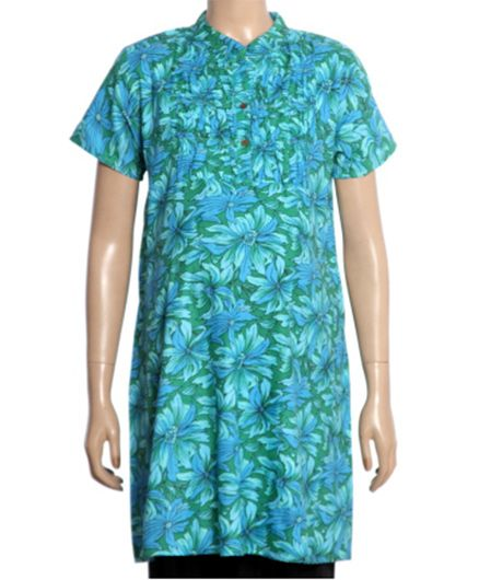 Uzazi Half Sleeves Maternity Tunic Floral Print - Green And Blue