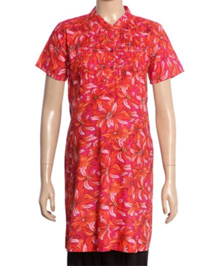 Uzazi Half Sleeves Maternity Tunic Floral Print - Pink And Red