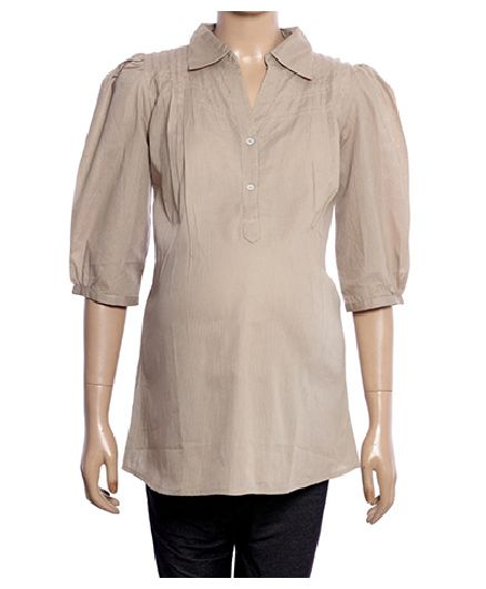 Uzazi Quarter Sleeves Maternity Tunic Top - Beige