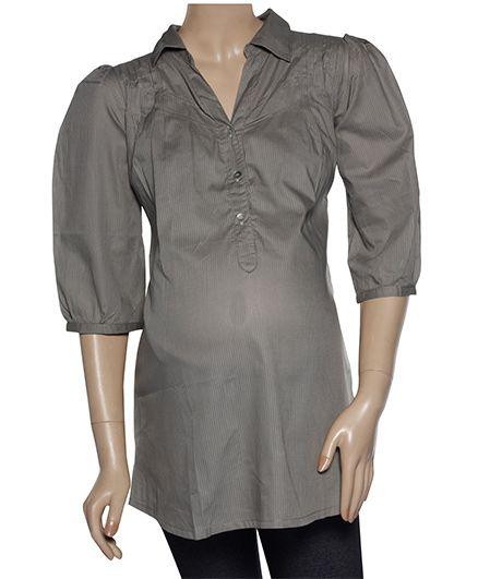 Uzazi Quarter Sleeves Maternity Tunic Top - Grey