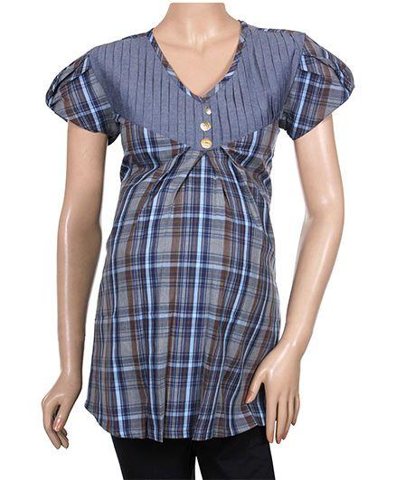 Uzazi Cap Sleeves Maternity Top With Check Print - Blue