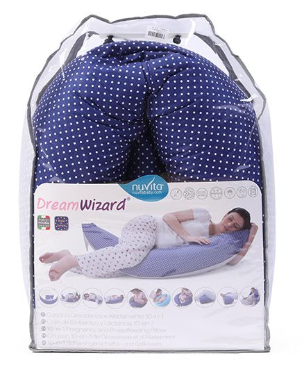 Nuvita Dream Wizard 10 In 1 Pregnancy And Breastfeeding Pillow Polka Dots - Blue