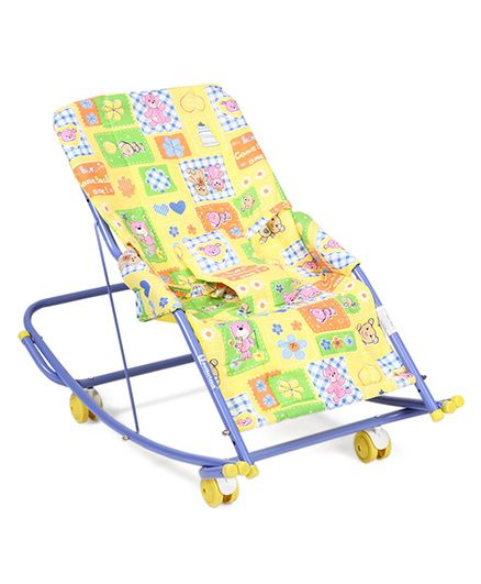 Mothertouch Swing Cum Rocker Teddy And Flower Print - Yellow