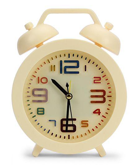 Round Shape Analog Alarm Clock - Cream