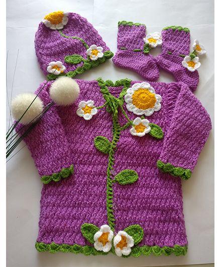 The Original Knit Sunflower & Leaves Applique Sweater Set - Mauve