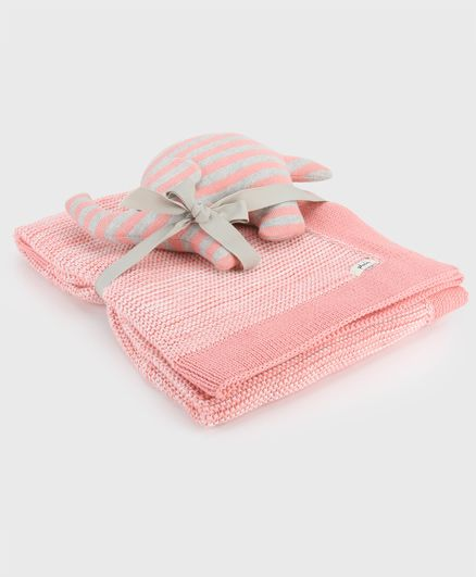 Pluchi Sophia Mini Seed Stitch Cotton Blanket With Elephant Toy - Pink