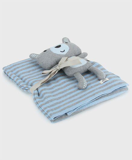 Pluchi James Skinny Stripe Cotton Blanket With Bear Toy - Sky Blue & Grey