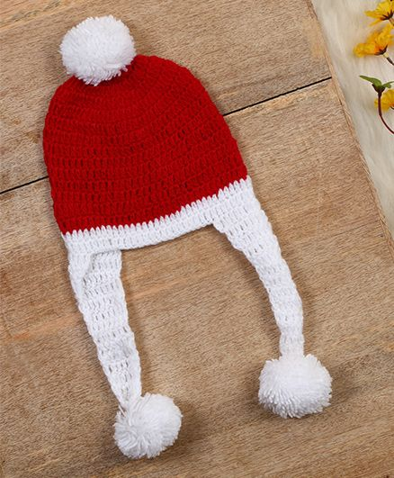 The Original Knit Crochet Pom Pom Cap - Red & White