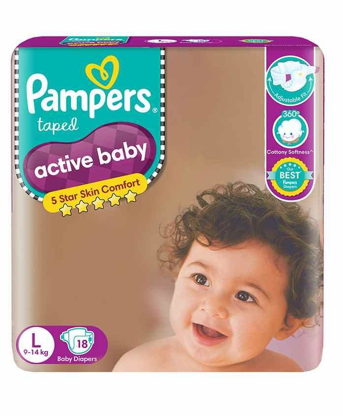 Pampers Active Baby Diapers Large - 18 Pieces