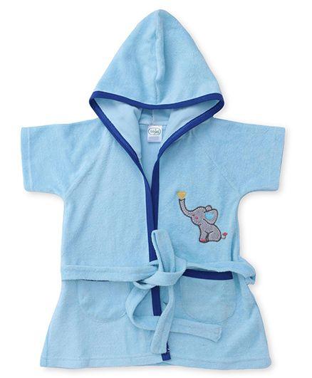 Babyhug Half Sleeves Hooded Bathrobe - Light Blue