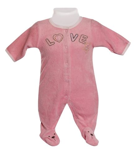 Baby Romper with Footie- Pink
