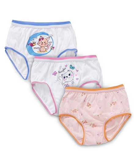 Bodycare Printed Panties Pack Of 3 - White Blue Peach Pink