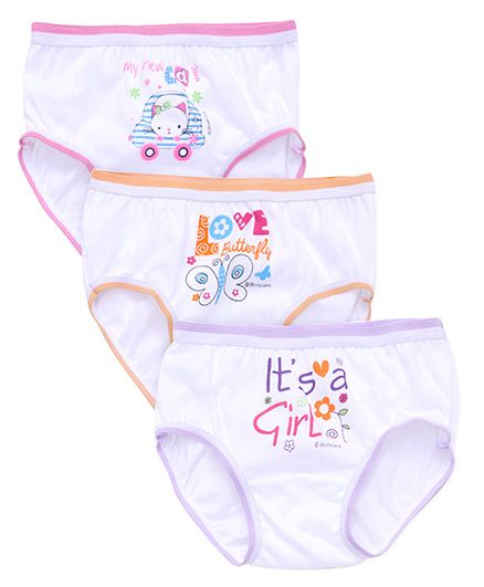 Bodycare Printed Panties Pack Of 3 - White Orange Purple Pink