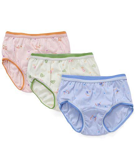 Bodycare Printed Panties Pack Of 3 - Blue Green Peach