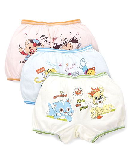 Bodycare Printed Bloomers Pack Of 3 - Peach Green Pink