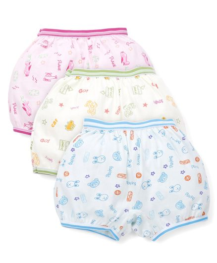 Bodycare All Over Printed Set Of 3 Bloomers - White Pink Orange Green