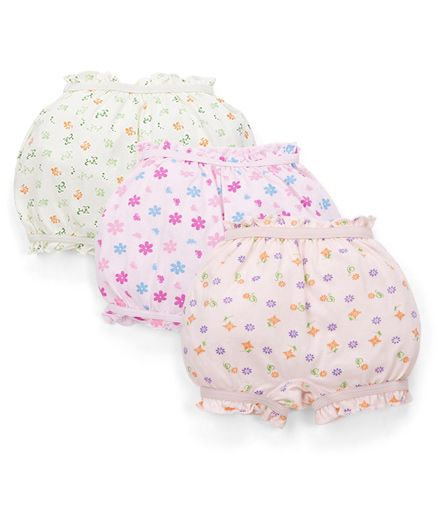 Bodycare Printed Set Of 3 Bloomers - Light Blue Pink Peach(Colours And Print May Vary)
