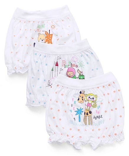 Bodycare Printed Bloomers Pack Of 3 - White