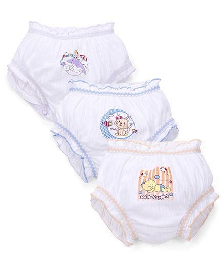 Bodycare Solid Color With Print Panties Set Of 3 - White