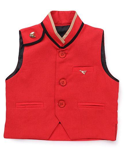 Robofry Sleeveless Designer Waistcoat - Red