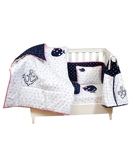 The Button Tree Baby Boo Sailor Cot 7 Piece Set - Blue & White