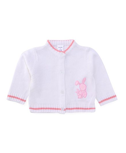 Wonderchild Rabbit Baby Cardigan - Pink & White