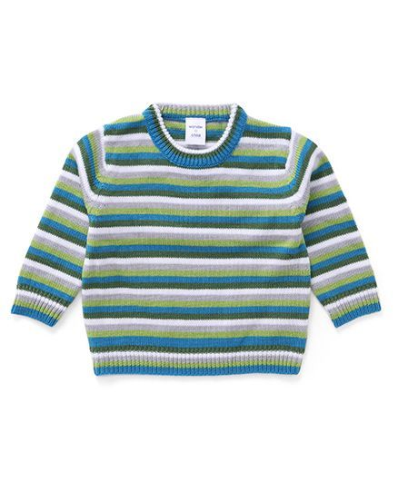 Wonderchild Three Colour Striped Cardigan - Green