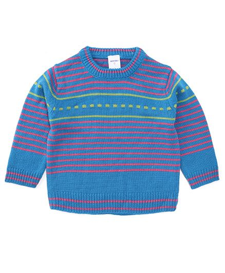Wonderchild Pull Over Striped Cardigan - Blue