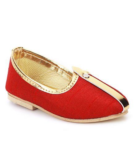 Ethniks Neu Ron Solid Color Traditional Mojari Shoes - Maroon