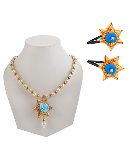 Miss Diva Traditional Gotta Star Beaded Necklace with Pearl & Tic Tac Pair Set - Turquoise