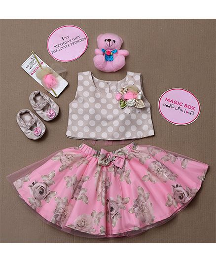 Rose Couture Magic Box Flower Applique Polka Dot Top With Floral Skirt Set - Pink