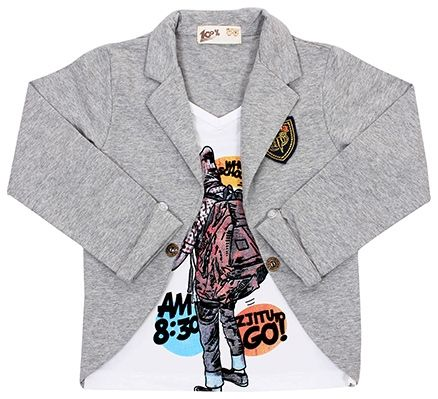 T-Shirt With Full Sleeves Attached Jacket